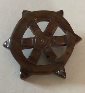 Large Ship Steering Wheel Openwork Old Realistic Shape Button Vintage