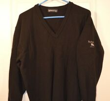 Mens Burberry's Golf Sweater Black with embroidered sleeve size small (E) Wool