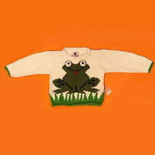 """New Pery Kids Knitted """"bug eyes"""" Frog Sweater with bee on tongue Size 2T"""