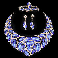 Austrian Crystal Party Jewelry Set Gold Plated Statement Necklaces Earrings Ring