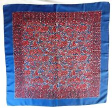 "Blue scarf Paisley pattern print 34"" square vintage 1950s 1960s men or women ep"