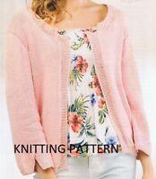 (484). Easy Knit Ladies Cardigan in DK, inc. Plus Sizes Copy knitting pattern
