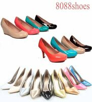 Women's sexy Patent  Closed Pointed Toe Pumps  Heels Wedge Shoes Size 5 - 10 NEW