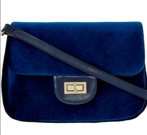 Designer CHRISTIAN LACROIX Navy Marlene Velvet Crossbody Handbag + Dust Bag