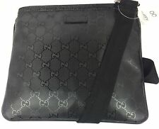 Authentic New Gucci GG Black Imprime Leather Zip Top Messenger Bag  #201538, NWT