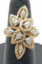 Sterling Silver 925 Abstract Gold Tone CZ / Citrine Pear Cluster Cocktail Ring 7