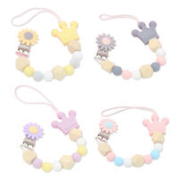 1X(Silicone Wood Beads Baby Pacifier Clip Chain Cute Flower Crown Pacifier 2F2)