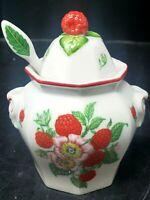 VTG Lenox Fine Porcelain Strawberry Jam Jelly Jar w/Lid And Spoon w/Styro Cont.