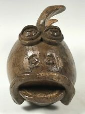 HANDCARVED WOOD POPPER FISH PAPERMACHE MOLD/SCULPTURE