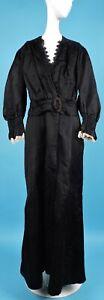 EDWARDIAN BLACK POLKA DOT SILK LONG DRESS W LACE TRIMS