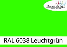 Pulverbeschichtung Pulverlack RAL 6038 Leuchtgrün glatt glänzend Powdercoat