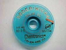 (1) Chemtronics 80-3-5 5ft x 1.9mm Size #3 Desoldering Braid Soder-Wick Rosin