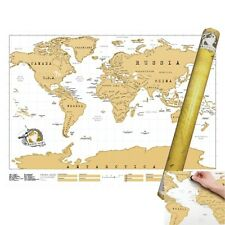 DELUX SCRATCH OFF WORLD MAP POSTER PERSONALIZED TRAVEL VACATION PERSONAL GIFT