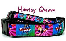 "Harley Quinn dog collar handmade adjustable buckle 1"" or 1/2"" wide or leash"