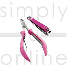 Professional Pink Nail Clipper & Cuticle Nipper Set Manicure / Pedicure