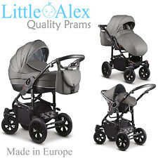 Grey 3 in 1 Baby Pram Stroller Pushchair Car Seat Carrycot Travel System Buggy