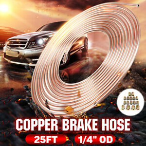 Roll Copper Steel 25FT 1/4'' OD Brake Line Pipe Tubing Kit w/ 16Pcs Fittings AU