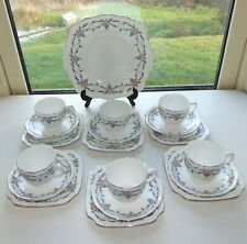 Staffordshire English Porcelain 19 PC Hand Coloured Cups Saucers Plates 2437