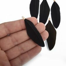 "20 BLACK Real Feather Charms with gold bail 2"" to 2.5"" long, chs4719"