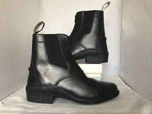 Brogini Tivoli Leather Front Zip Paddock Jodhpur Short Riding Boots Black Size 7