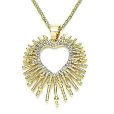 New 9ct Gold GF Heart   Pendant and Chain Necklace  Clear Cubic Zirconia  JS164