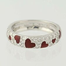 Hidalgo Heart Band - 18k White Gold Ring Size 5 Red Enamel Diamonds .45ctw