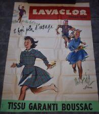 AFFICHE PUBLICITAIRE LAVACLOR GRAND TEINT TISSU GARANTI BOUSSAC 1950 COURONNE