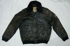Davey Joe The Legend Sheriff Police Bomber Leather Jacket size  L-XL