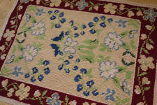 "12"" X 16"" Blue Flowers Burgandy Beige VTG Handmade Completed Needlepoint Canvas"