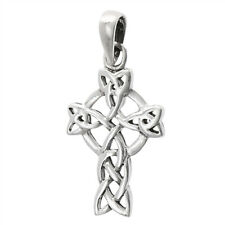 Celtic Cross Pendant .925 Sterling Silver Circle Viking Twisted Medieval Charm