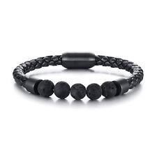 Trendy Men Leather Stainless Bracelet Lava Chakra Stone Beads Bracelet & Bangles