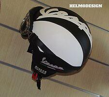 Casco Vespa Vintage personalizzato in pelle nero bandiera italiana S,M,L,XL