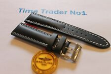 100% Genuine New Authentic Breitling Blue Calf Leather Tang Buckle Strap 24-20mm