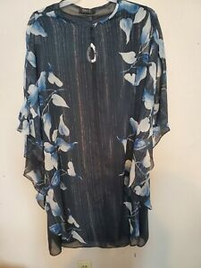 Ignite Evening size 18W Navy sleeveless dress with silver flower accent shawl
