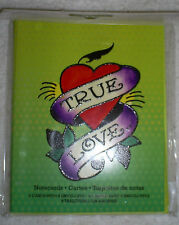 "8 Blank Note Cards w/Matching Envelopes in Ed Hardy's Design: ""True Love"""