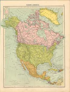1919 MAP ~ NORTH AMERICA ~ DOMINION OF CANADA MEXICO GREENLAND ALASKA