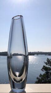 """Signed SVEN PALMQVIST ORREFORS Vase Mid Century Gray Dusk Glass, H 9 1/2"""""""