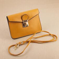 Brown Faux Leather Passport Bag Clutch Purse Small Gold Buckle Detachable Strap