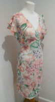 Marks & Spencer Collection pink fixed wrap front tie back dress 12 VGC