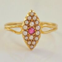 Charming Antique Victorian 18ct Gold Ruby & Pearl set Marquise Shaped Ring c1895