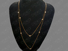 18K Gold On 925 Sterling Silver Long Necklace Lab Simulated Diamonds By The Yard
