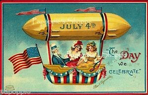 Vintage 4th of July Fabric Block Postcard Image on Fabric Uncle Sam CLAPSADDLE