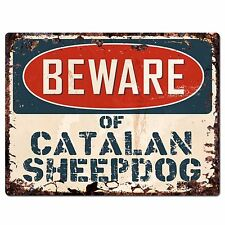 Ppdg0034 Beware of Catalan Sheepdog Plate Rustic Chic Sign Decor Gift