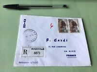 Brazzaville Congo  to Nice France registered stamps cover Ref 51347