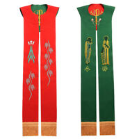 Christian Symbols Embrodiery Reversible Red Green Priest Stole Clergy Stole