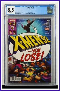 X-Men '92 #4 CGC Graded 8.5 Marvel August 2016 Newsstand Edition Comic Book.
