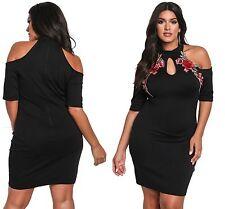 New Ladies Rose Applique Cold Shoulder Bodycon Dress Plus Size 14 16 18 20 22 24