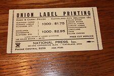 Vintage Advertising INK BLOTTER.Union Label Printing. Cleveland, Ohio