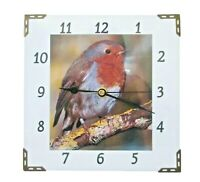 WALL CLOCK. RED ROBIN BIRD  20cm SQUARE WITH SILENT QUARTZ MOVEMENT