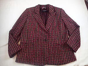 MARINA RINALD BLAZER,Ladies Jacket, SZ 21/ US 16,wool BLEND TWEED METALLIC  TU